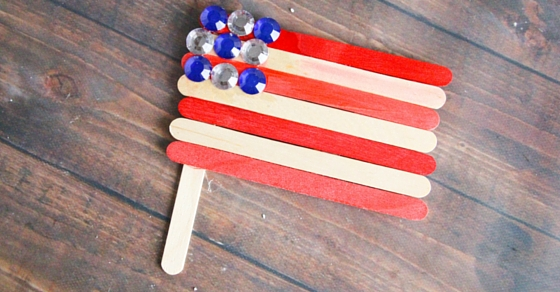 Popsicle Sticks and Rhinestone Jewels American Flag Craft The Kindergarten Connection