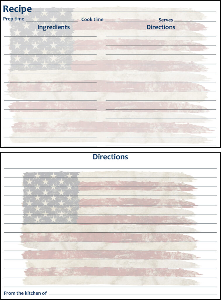 Printable Summer Recipe Card 4x6 American Flag