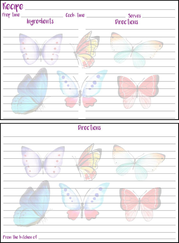 Printable Summer Recipe Card 4x6 Butterflies