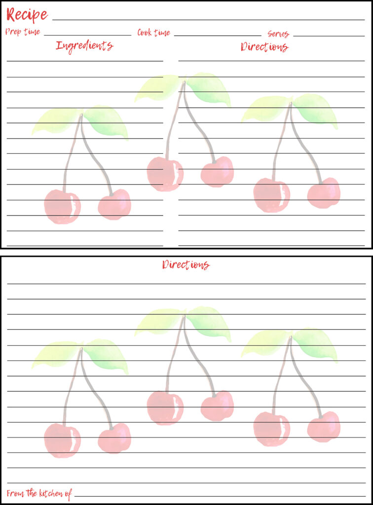 Printable Summer Recipe Card 4x6 Cherries