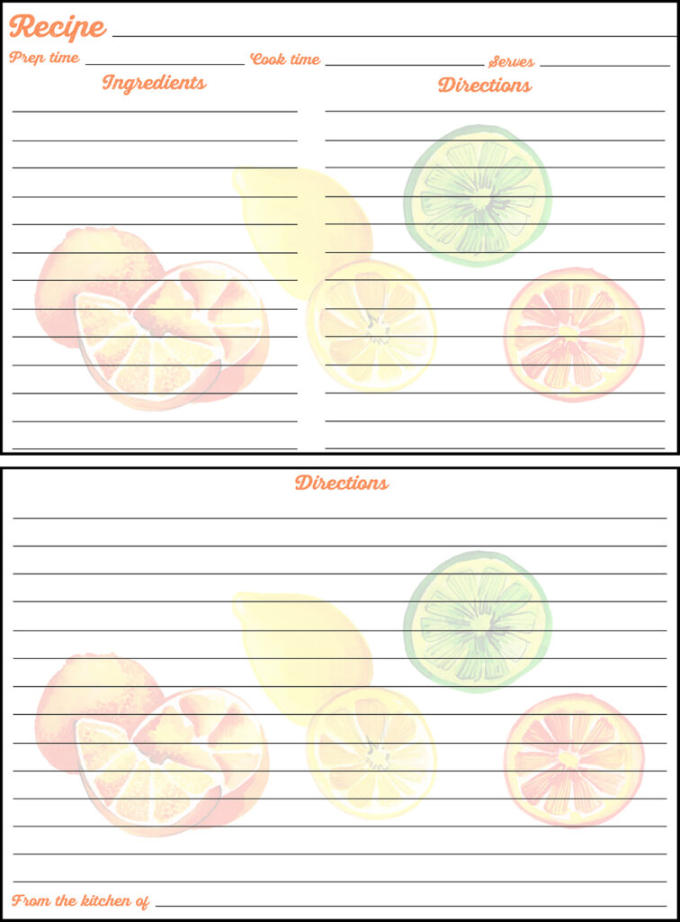 Printable Summer Recipe Card 4x6 Citrus Fruits
