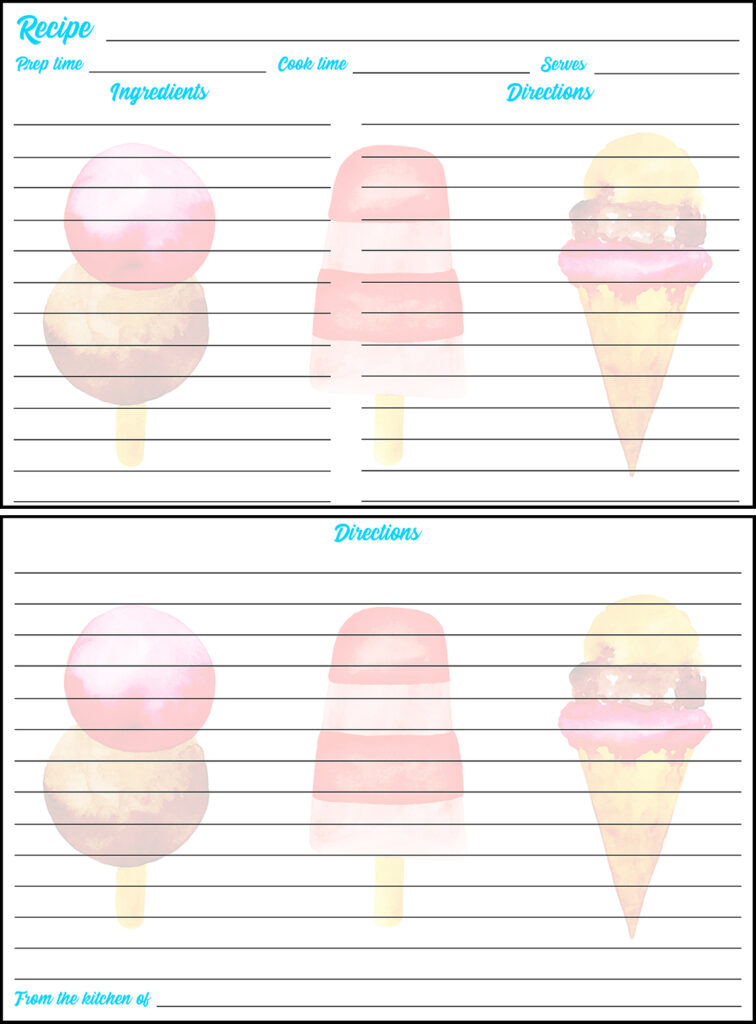 Printable Summer Recipe Card 4x6 Ice Cream