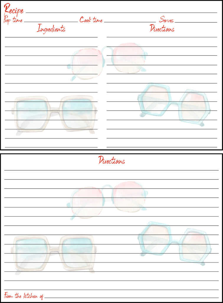 Printable Summer Recipe Card 4x6 Retro Sunglasses