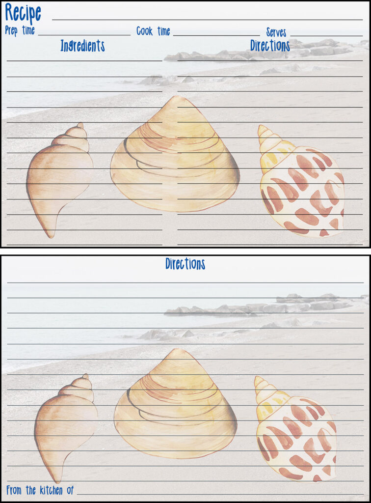 Printable Summer Recipe Card 4x6 Seashells