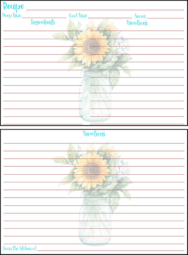 Printable Summer Recipe Card 4x6 Sunflower in Vase