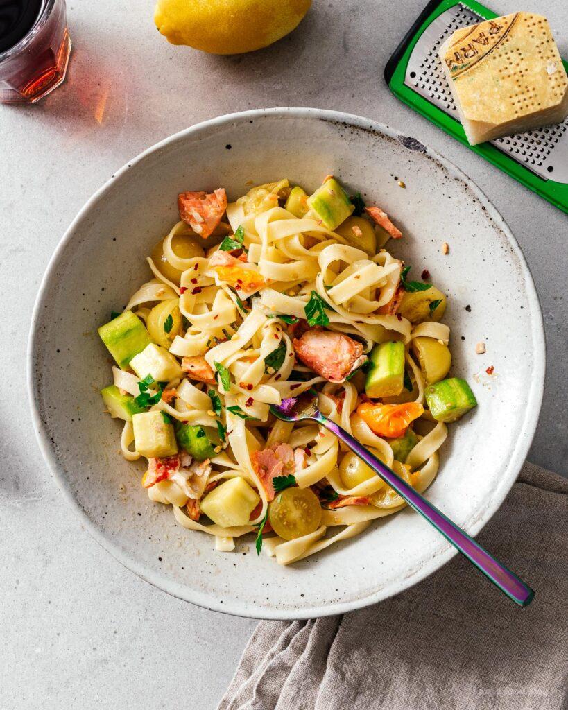 Salmon Tomato and Zucchini Tagliatelle I am a Food Blog