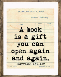 School Library Card A Book is a Gift Framed