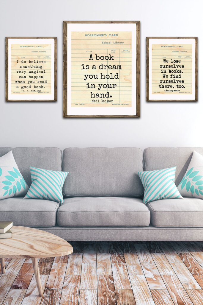 School Library Card Reading Quotes Living Room
