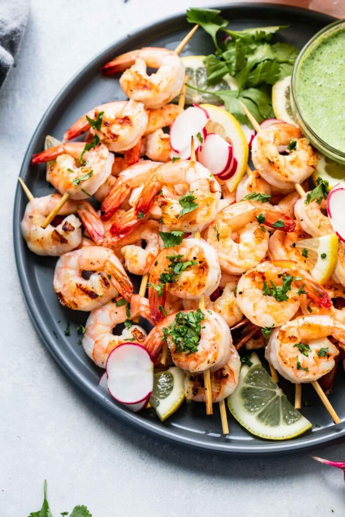 Shrimp Skewers Green Tahini Sauce Platings and Pairings
