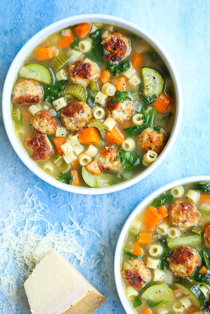 Summer Minestrone with Turkey Meatballs Damn Delicious