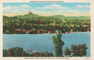 Vintage Postcard Friess Lake From the East, Holy Hill in the Distance