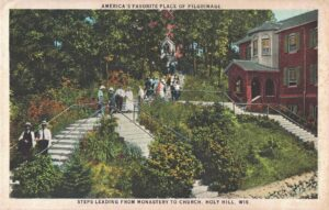 Vintage Postcard Holy Hill Steps Leading From Monastery to Church