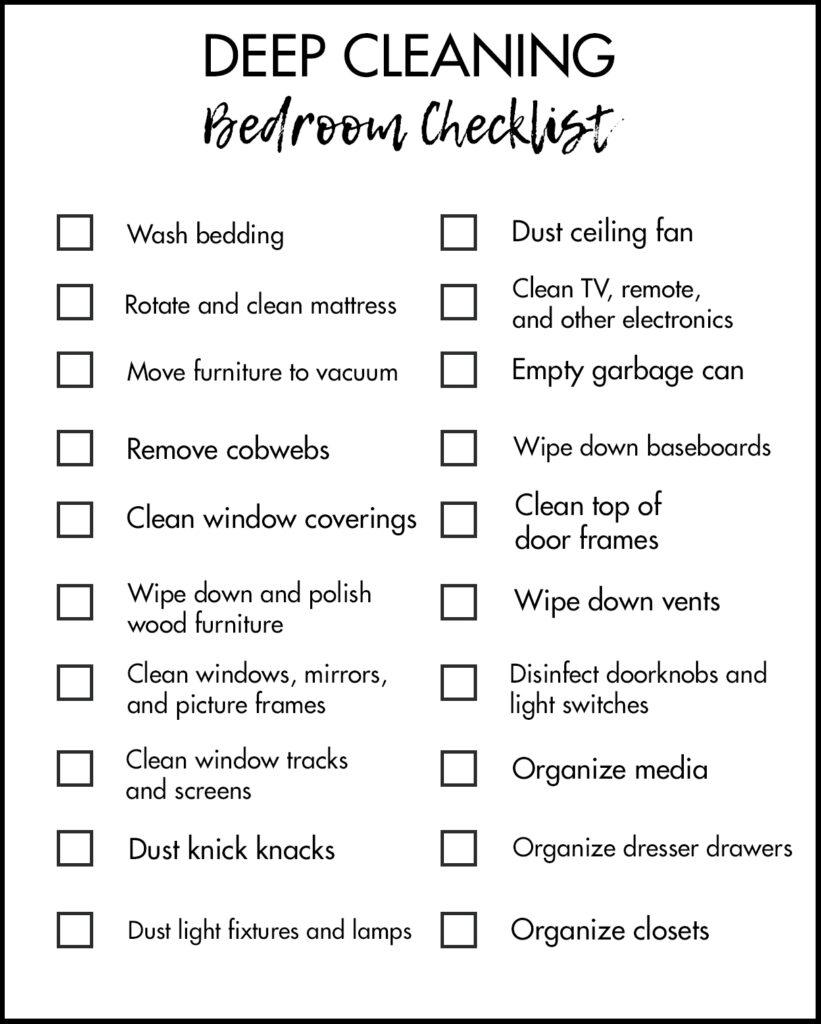 Deep Cleaning Bedroom Tasks Checklist