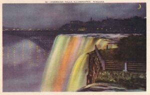 Vintage Postcard Niagara American Falls Illuminated