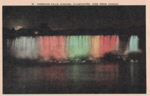 Vintage Postcard Niagara Falls American Falls Illuminated at Night View From Canada