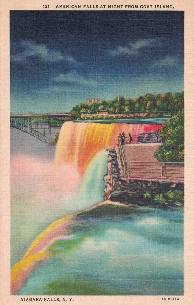 Vintage Postcard Niagara Falls American Falls at Night From Goat Island