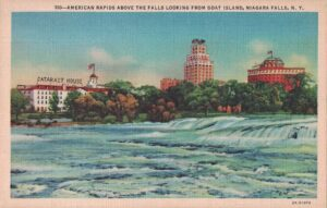 Vintage Postcard Niagara Falls American Rapids Above the Falls Looking From Goat Island