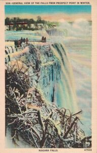 Vintage Postcard Niagara Falls General View of the Falls From Prospect Point in Winter