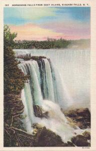 Vintage Postcard Niagara Falls Horseshoe Falls From Goat Island