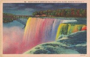Vintage Postcard Niagara Falls Night View of American Falls From Luna Island