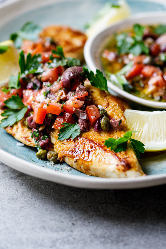 Chicken Breasts With Olive Tomato and Caper Dressing Simply Delicious