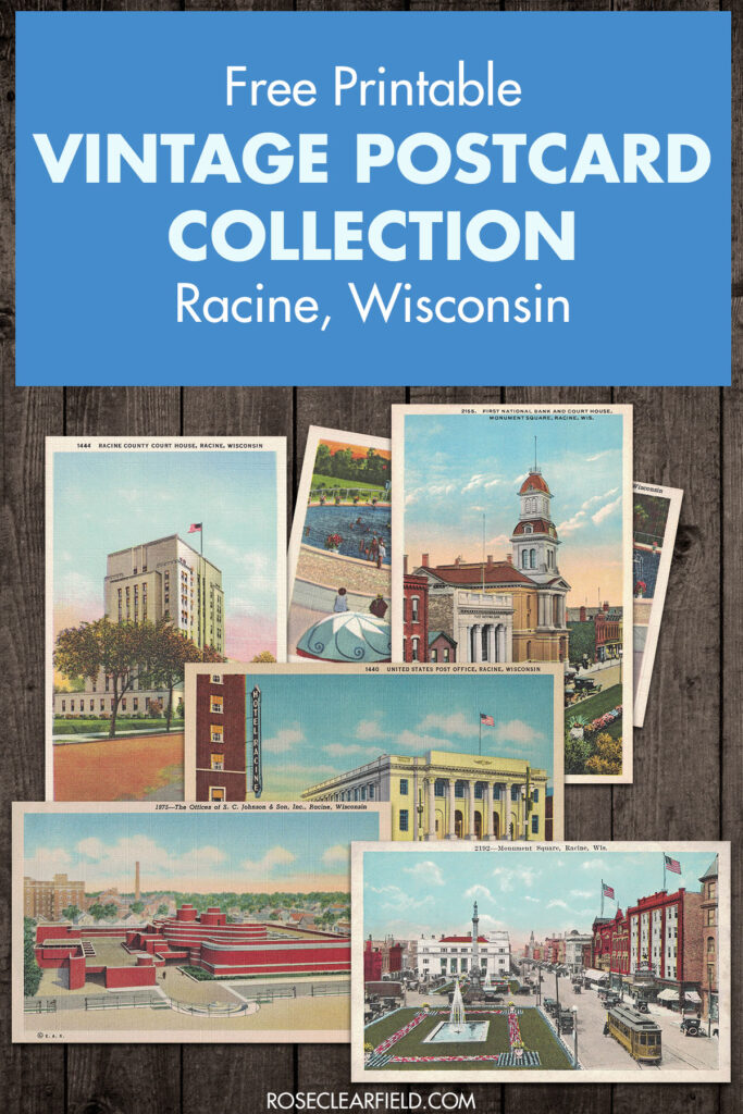 Free Printable Vintage Postcard Collection Racine Wisconsin