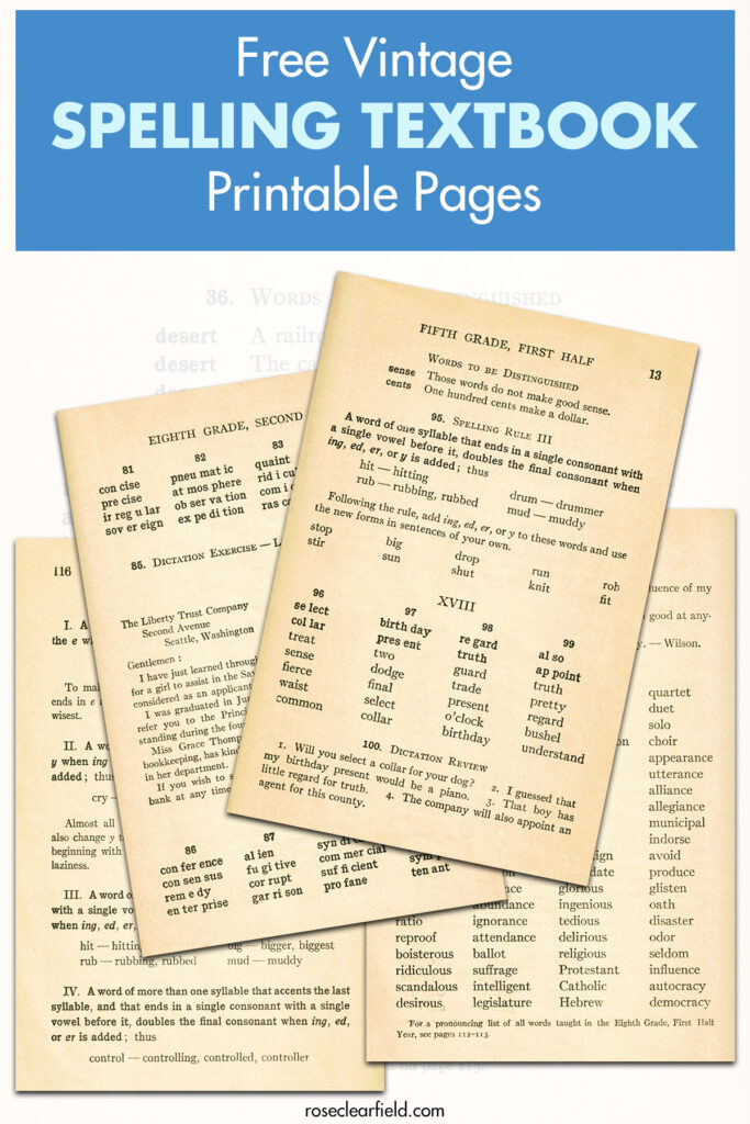 Free Vintage Spelling Textbook Printable Pages