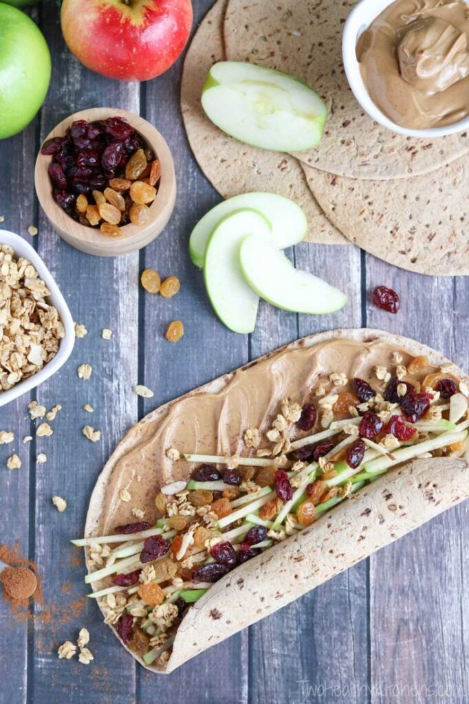 Granola Crunch Apple Peanut Butter Sandwich Wraps Two Healthy Kitchens