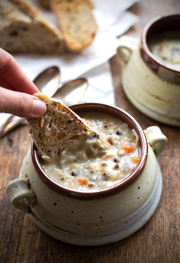 Slow Cooker Chicken Wild Rice Soup Pinch of Yum