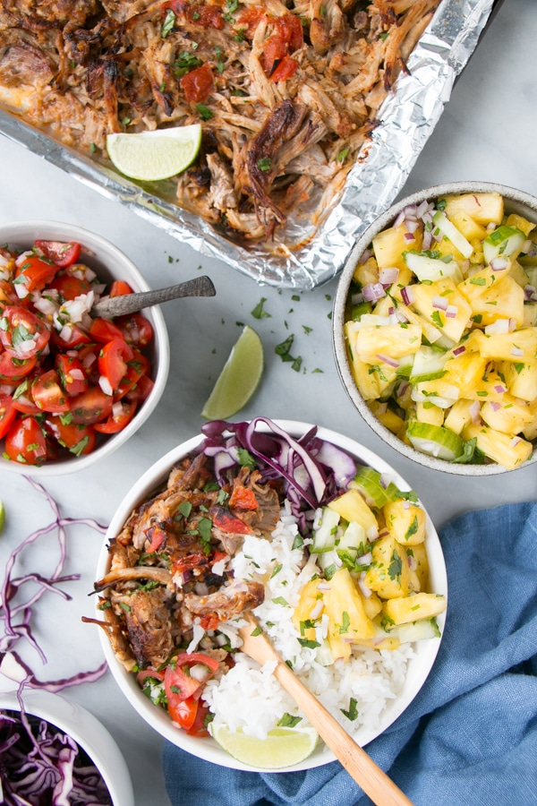 Slow Cooker Pork Carnitas Burrito Bowls My Kitchen Love