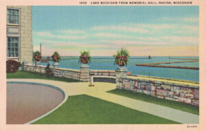 Vintage Postcard Racine Lake Michigan from Memorial Hall