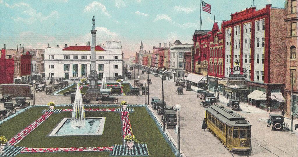 Vintage Postcard Racine Monument Square
