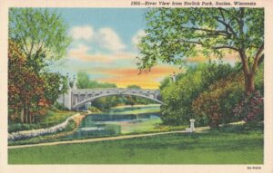 Vintage Postcard Racine River View from Horlick Park