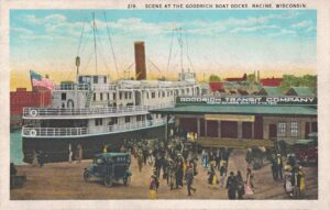 Vintage Postcard Racine Scene at Goodrich Boat Docks