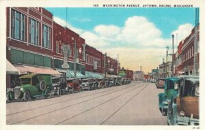 Vintage Postcard Racine Washington Avenue Uptown