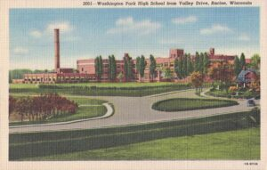 Vintage Postcard Racine Washington Park High School from Valley Drive