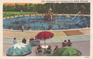 Vintage Postcard Racine Washington Park Swimming Pool