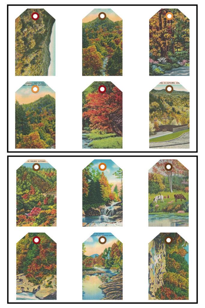 Vintage Postcards Autumn Tags 8.5x11 Pages
