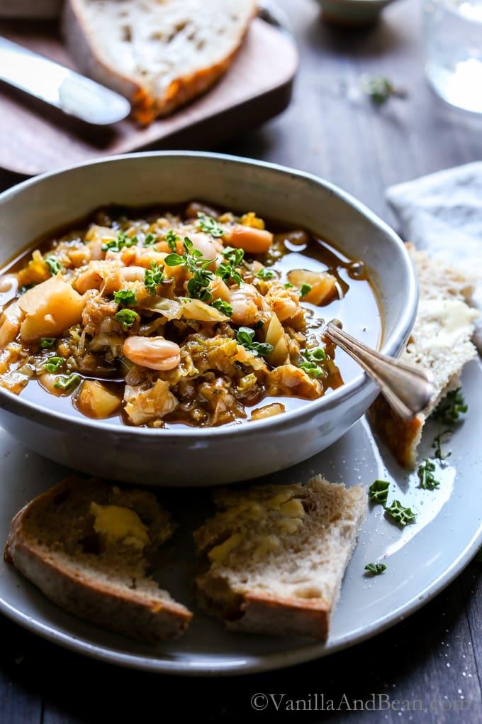 White Bean Cabbage Potato Soup Vanilla and Bean