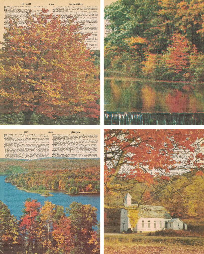 Autumn Colors Vintage Dictionary Printables Collage