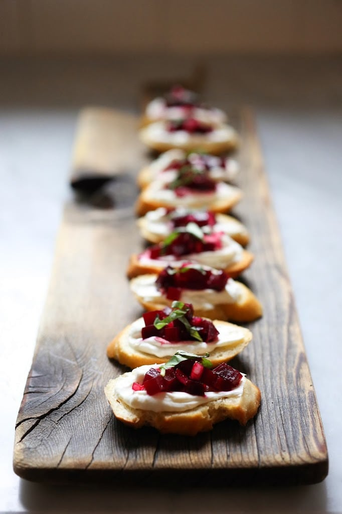 Beet Bruschetta With Goat Cheese and Basil Feasting at Home
