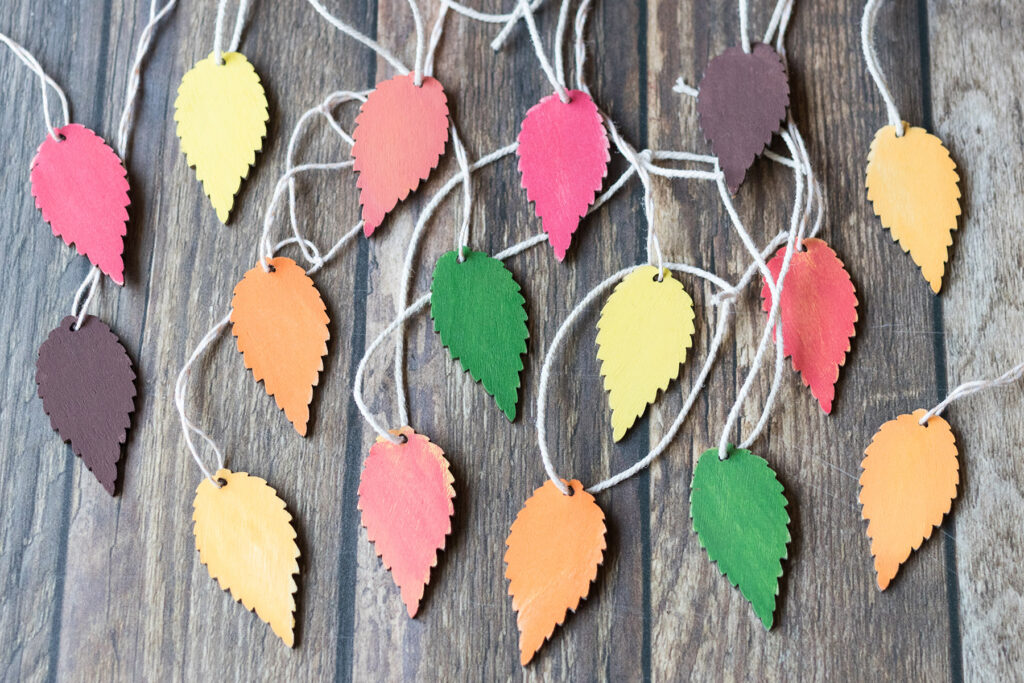 Wooden Fall Leaf Ornaments