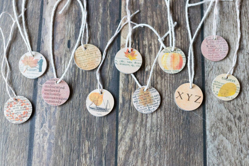 Mini Wooden Dictionary Page Fall Ornaments