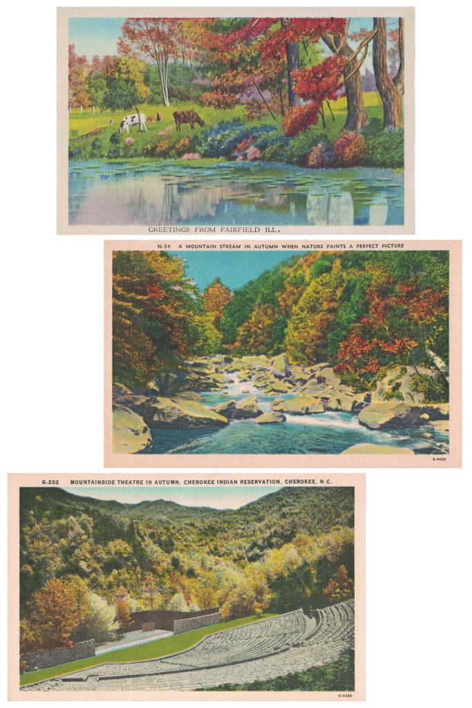 Vintage Autumn Postcards Collage