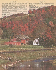 Vintage Dictionary C Page Fall Scene 8x10
