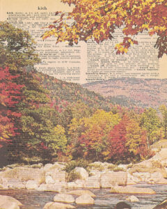 Vintage Dictionary K Page Fall Scene 8x10