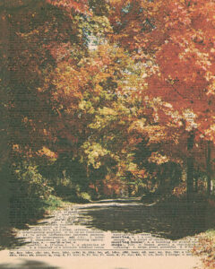 Vintage Dictionary M Page Fall Scene 8x10