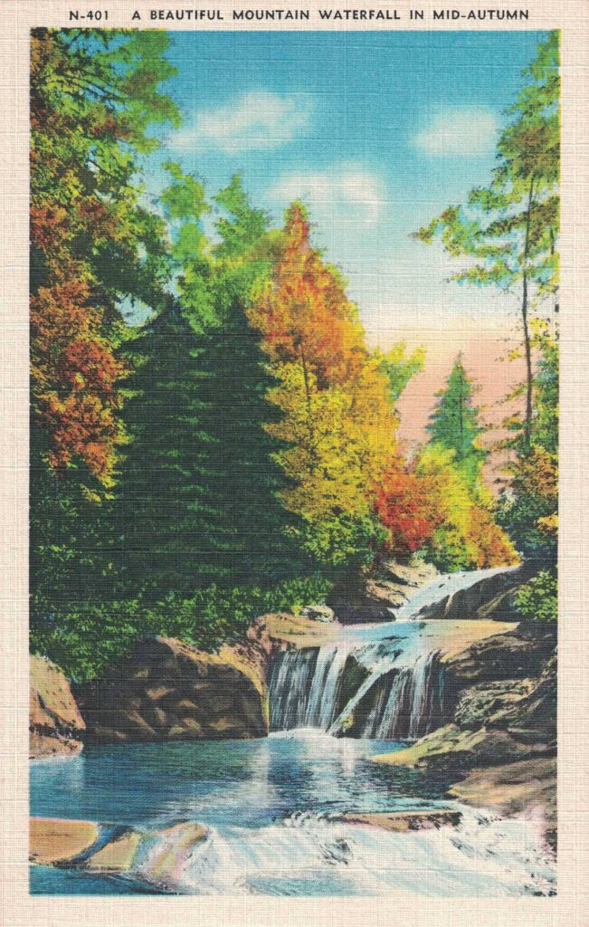 Vintage Postcard A Beautiful Mountain Waterfall in Mid-Autumn