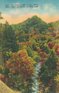 Vintage Postcard The Chimney Tops in Fall Attire Great Smoky Mountains National Park