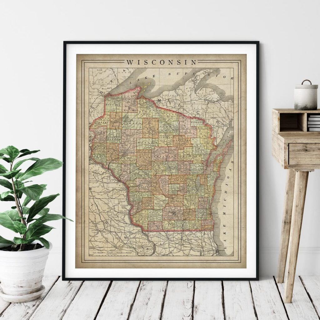 1897 Vintage Wisconsin Map Print FatFrogPrints on Etsy
